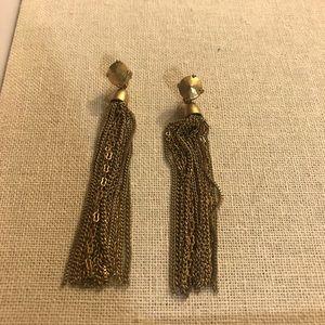Stella & Dot gold tassel earrings